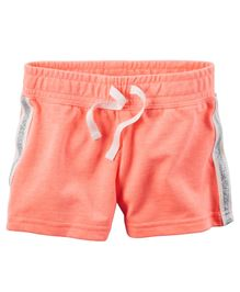 Carter's Sparkle Side Stripe Neon French Terry Shorts
