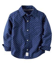 Carters Full Sleeves Printed Shirt - Navy Blue