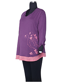 Kriti Three Fourth Sleeves T-Shirt - Purple