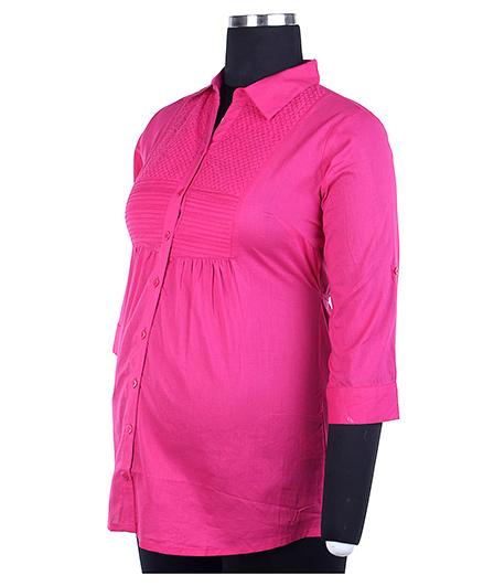 Kriti Three Fourth Sleeves Maternity Top - Dark Pink
