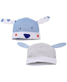 Babyoye Bunny Shape Cap Pack Of 2 - Blue Grey