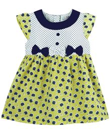 BabyPure Infant cap Sleeves Dress With All Over Print - Light Green