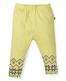 Fisher Price Full Length Leggings With Hem Print - Greenish Yellow
