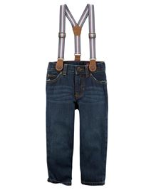Carters 5 Pockets Straight Jeans With Suspenders - Denim Blue