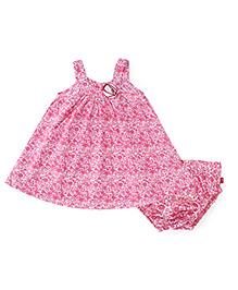 Nino Bambino Sleeveless Frock With Bloomer Floral Print - Pink