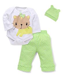Babyhug Onesie And Leggings Set With Cap Kitty Print - Green White