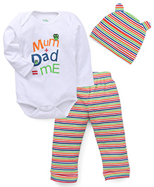 Babyhug Full Sleeves Onesie With Pajama And Cap - White Multicolor