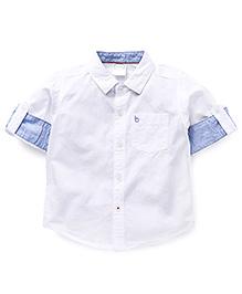Babyhug Full Sleeves Solid Color Shirt - White