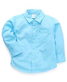 Babyhug Full Sleeves Solid Color Shirt - Aqua Blue