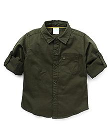 Babyhug Full Sleeves Solid Colour Shirt - Brown
