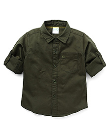 Babyhug Full Sleeves Solid Colour Shirt - Brown