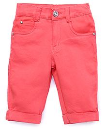 Babyhug Fold Up Hem Capri Pants - Coral