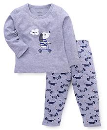 Babyhug Full Sleeves T- Shirt And Pajama Dog Print - Grey