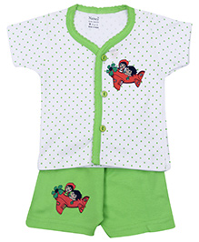 Namcy Short Sleeves T-Shirt And Shorts Green - Airplane Print