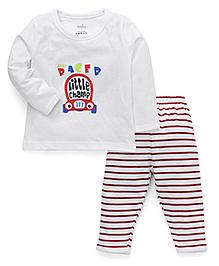 Babyhug Full Sleeves T-Shirt And Pajama Car Print - White