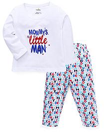 Babyhug Full Sleeves T-Shirt And Pajama Quote Print - White