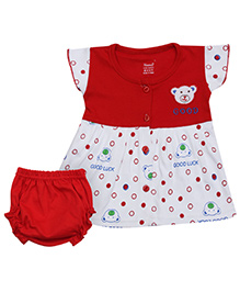 Namcy Short Sleeves Frock With Bloomer - Red N White