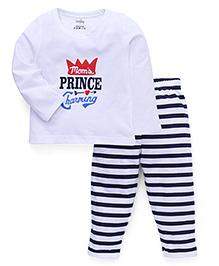 Babyhug Full Sleeves T-Shirt And Pajama Quote Print - White And Navy