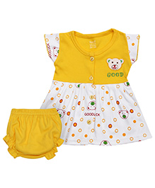 Namcy Short Sleeves Frock With Bloomer - Yellow N White