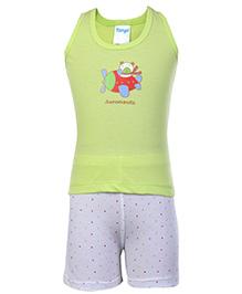 Tango Sleeveless T-Shirt And Shorts Green - Aeronauts Print