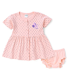 Babyhug Half Sleeves Front Open Dotted Frock With Bloomer - Peach
