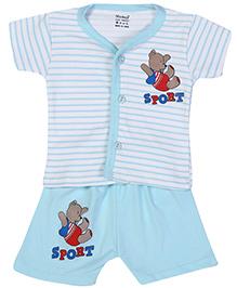 Namcy Half Sleeves T-Shirt And Shorts Sky Blue - Sport Print