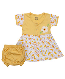 Namcy Short Sleeves Frock With Bloomer Floral Print - Yellow