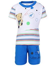 Namcy Half Sleeves T-Shirt And Shorts - Teddy Print