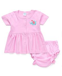 Babyhug Half Sleeves Elephant Print Frock With Bloomer - Pink