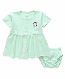 Babyhug Half Sleeves Penguin Print Frock With Bloomer - Mint Green