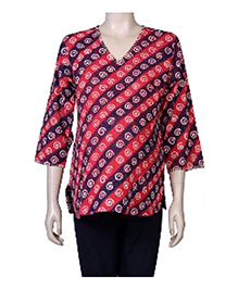 Uzazi Three Fourth Sleeves Printed Kurta - Red