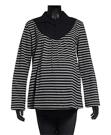 Uzazi Maternity Long Sleeves Striped Collar Top - Black & Grey