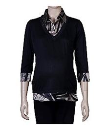 Uzazi Three Fourth Sleeves Dual Element Maternity Top - Black