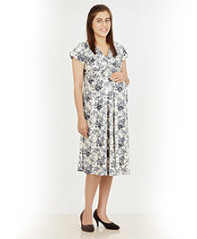 Uzazi Short Sleeves Maternity Dress Floral Print - White And Grey