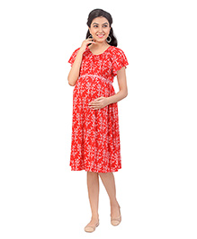 Uzazi Half Sleeves Maternity Dress Floral Print - Red
