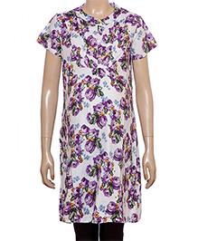 Uzazi Half Sleeves Floral Print Maternity Tunic - Violet And Purple