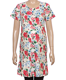 Uzazi Half Sleeves Floral Print Maternity Tunic - Cream And Red