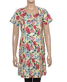 Uzazi Half Sleeves Floral Print Maternity Tunic - Yellow And Fuchsia