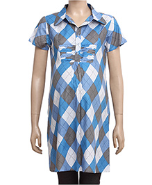 Uzazi Half Sleeves Maternity Tunic Top With Geometric Print - Blue
