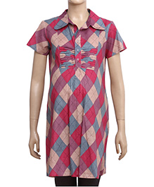 Uzazi Half Sleeves Maternity Tunic Top Geometric Print - Pink