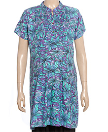 Uzazi Half Sleeves Maternity Tunic Floral Print - Violet And Green