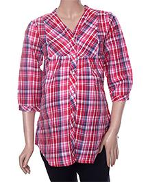 Uzazi Long Sleeves Maternity Top Checks Pattern - Red Pink Blue