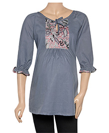 Uzazi Three Fourth Sleeves Maternity Top - Dark Grey