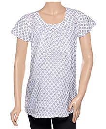 Uzazi Half Sleeves Maternity Top - White & Black
