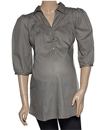 Uzazi Quarter Sleeves Maternity Tunic Top - Grey