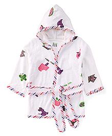 Ohms Full Sleeves Bath Robe Multi Print - White Multi Color