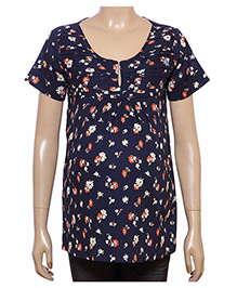 Uzazi Half Sleeves Maternity Top With Floral Print - Navy Blue