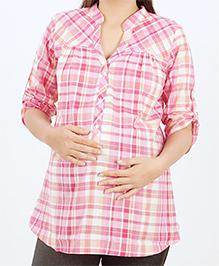 Uzazi Long Sleeves Maternity Top Checks Pattern - Pink