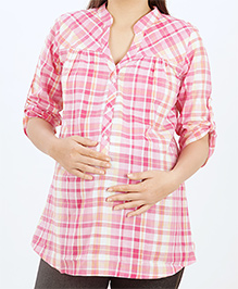 Uzazi Long Sleeves Maternity Top Checks Pattern - Pink