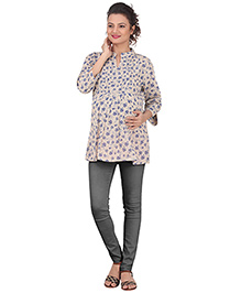 Uzazi Three Fourth Sleeves Maternity Top - Blue Cream